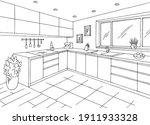 kitchen room graphic black... | Shutterstock .eps vector #1911933328
