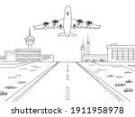 airport exterior plane takes...   Shutterstock .eps vector #1911958978