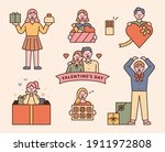 people holding valentine's day...   Shutterstock .eps vector #1911972808