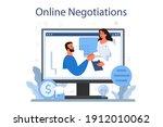 business negotiations online... | Shutterstock .eps vector #1912010062