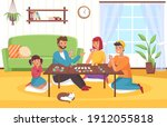 board game at home. happy...   Shutterstock .eps vector #1912055818