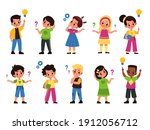 thoughtful kids. children with...   Shutterstock .eps vector #1912056712