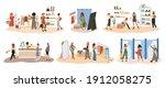 shopping. happy women try... | Shutterstock .eps vector #1912058275