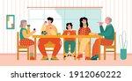 big family dinner   cartoon...   Shutterstock .eps vector #1912060222
