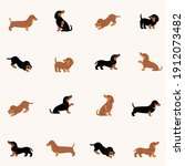 cartoon happy dachshund  ... | Shutterstock .eps vector #1912073482