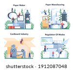 paper production and wood... | Shutterstock .eps vector #1912087048