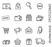 set of shopping icons in line... | Shutterstock .eps vector #1912112662