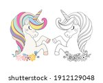 coloring page unicorn head with ... | Shutterstock .eps vector #1912129048