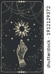 tarot card with hand and sun.... | Shutterstock .eps vector #1912129372