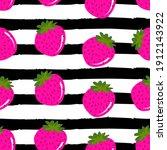 cute strawberries pattern...   Shutterstock .eps vector #1912143922
