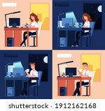 day night work. late office... | Shutterstock .eps vector #1912162168