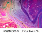 Abstract Purple Acrylic Pour...