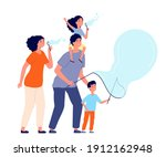 family and bubbles. soap bubble ... | Shutterstock .eps vector #1912162948