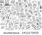 social media hand drawn vector... | Shutterstock .eps vector #1912173925
