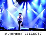 Small photo of MADRID - SEPT 15: The Kooks, British rock band formed in Brighton, concert at Complejo Deportivo Cantarranas on September 15, 2012 in Madrid. Dcode Festival.