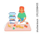 young women cooking vegetarian...   Shutterstock .eps vector #1912208455