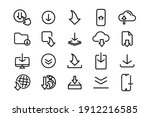 set of black download icons....   Shutterstock .eps vector #1912216585