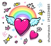 winged heart with rainbow in...   Shutterstock .eps vector #1912234885