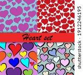 heart set of patterns... | Shutterstock .eps vector #1912246195
