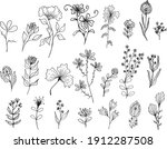 big set of hand drawn floral...   Shutterstock .eps vector #1912287508