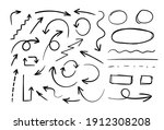 vector hand drawn arrows and... | Shutterstock .eps vector #1912308208