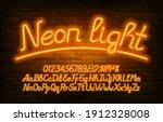 neon light alphabet font.... | Shutterstock .eps vector #1912328008