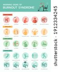 warning signs of burnout... | Shutterstock .eps vector #1912334245
