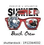 summer beach crew slogan with... | Shutterstock .eps vector #1912364032