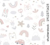 seamless pattern with cute...   Shutterstock .eps vector #1912371625
