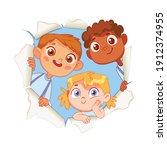 children look through a torn...   Shutterstock .eps vector #1912374955