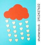 Rain of hearts. concept of...