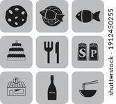 set of 9 food or restaurant...   Shutterstock .eps vector #1912450255