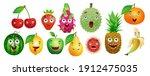 set of cartoon fruits for kids... | Shutterstock .eps vector #1912475035