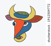 abstract contemporary bull  ... | Shutterstock .eps vector #1912509772