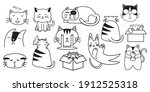 bundle of adorable cats... | Shutterstock .eps vector #1912525318
