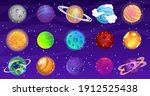 vector set of cartoon planets.... | Shutterstock .eps vector #1912525438