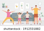 sport family at home. parents...   Shutterstock .eps vector #1912531882