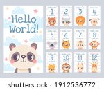 baby month cards with animals....   Shutterstock .eps vector #1912536772