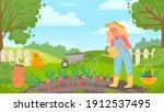 woman watering garden. female... | Shutterstock .eps vector #1912537495