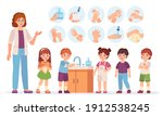 kids washing hands. cartoon... | Shutterstock .eps vector #1912538245