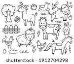set of cute farm animal...   Shutterstock .eps vector #1912704298