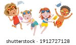 end of covid. kids very happy.... | Shutterstock .eps vector #1912727128