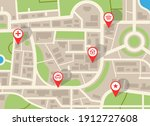 city map. navigation plan with... | Shutterstock .eps vector #1912727608