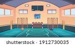 cartoon school court. gym with...   Shutterstock .eps vector #1912730035
