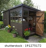 Garden Shed Exterior In Spring...