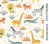 seamless pattern with cute wild ... | Shutterstock .eps vector #1912758388