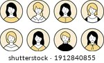 a set of various female round... | Shutterstock .eps vector #1912840855