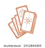 deck of occult tarot cards with ...   Shutterstock .eps vector #1912844305