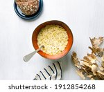 onion soup on a white background