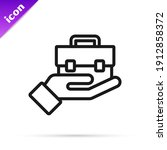 black line hand holding... | Shutterstock .eps vector #1912858372